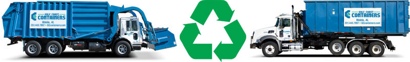 Recycle icon and trucks